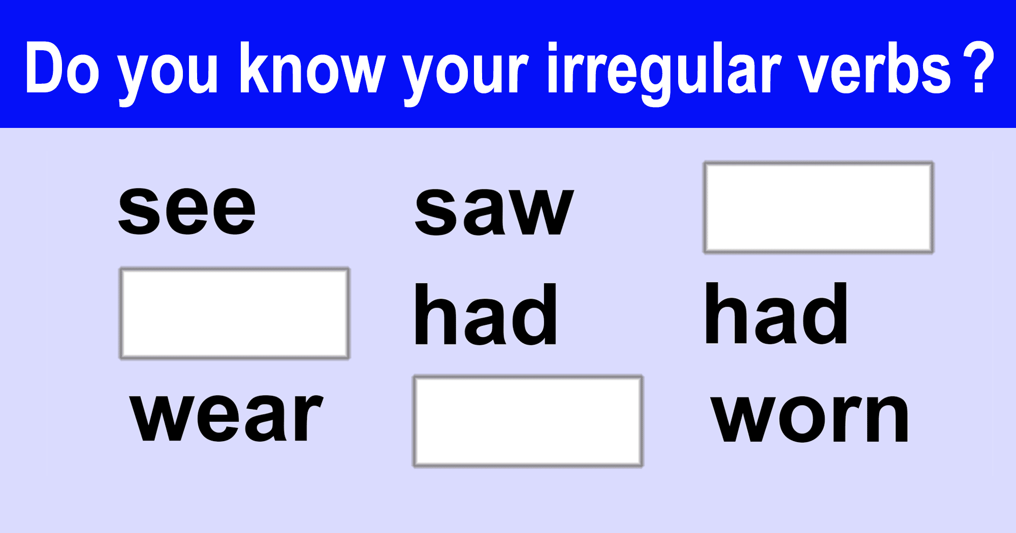 Irregular Verbs | ENGLISH PAGE